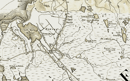 Old map of Allt Thallagro in 1911
