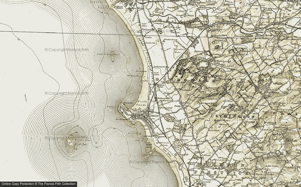 Old Map of Historic Map covering Barassie Sands in 1905-1906