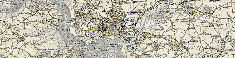 Old map of Barbican in 1899-1900