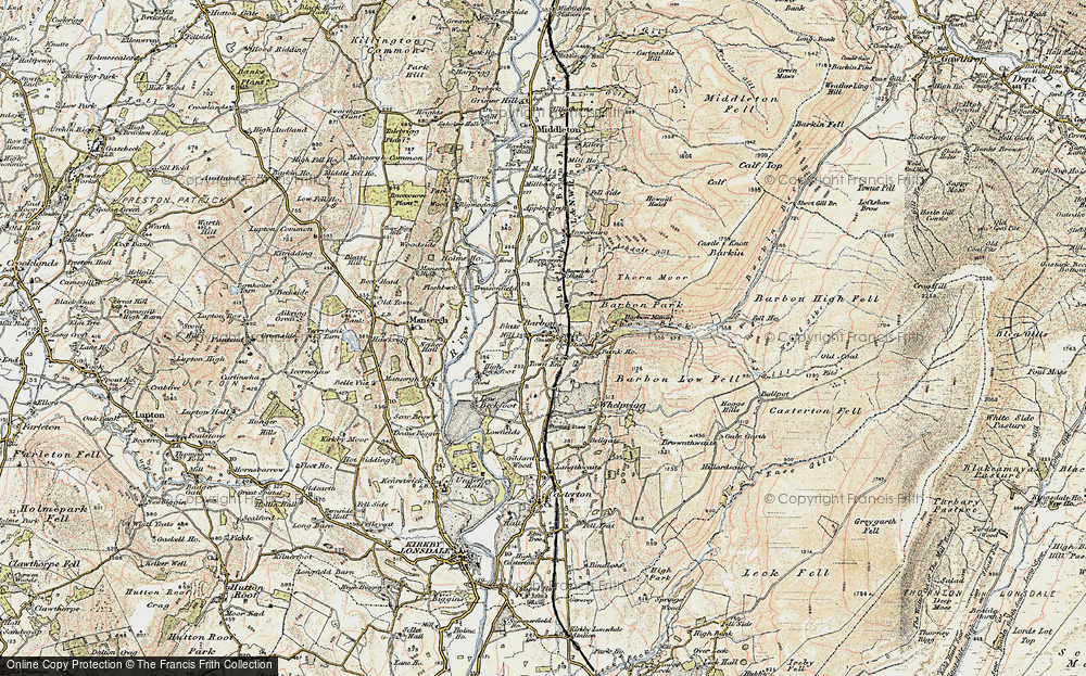 Old Map of Historic Map covering Ashdale Gill in 1903-1904