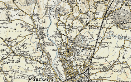 Old map of Barbourne in 1899-1902