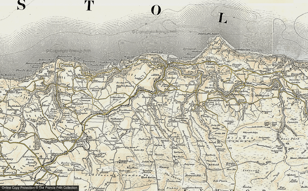 Old Map of Barbrook, 1900 in 1900