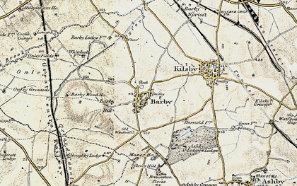 Old map of Barby Hill in 1901