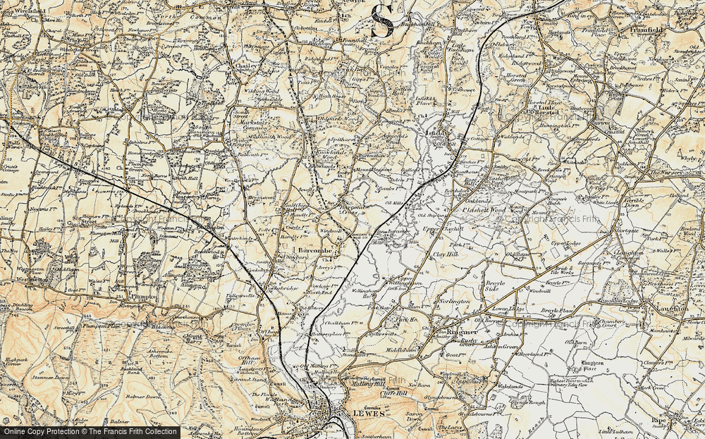 Old Map of Barcombe Cross, 1898 in 1898