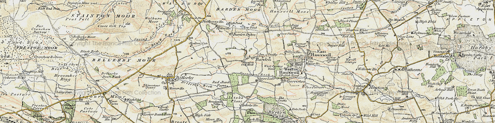 Old map of Barden in 1904