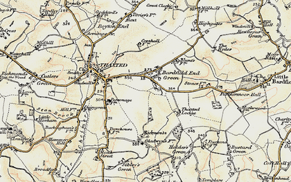 Old map of Bardfield End Green in 1898-1899