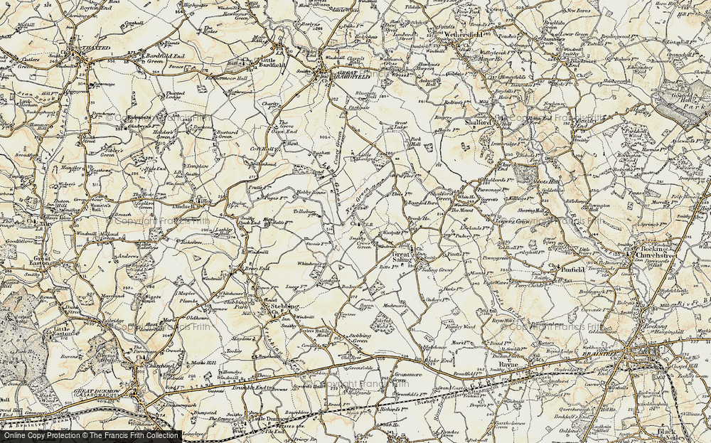 Old Map of Bardfield Saling, 1898-1899 in 1898-1899