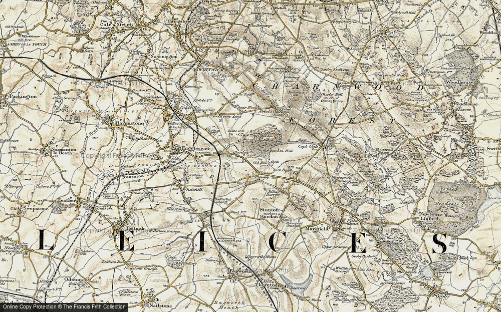 Old Map of Historic Map covering Bardon Hall in 1902-1903