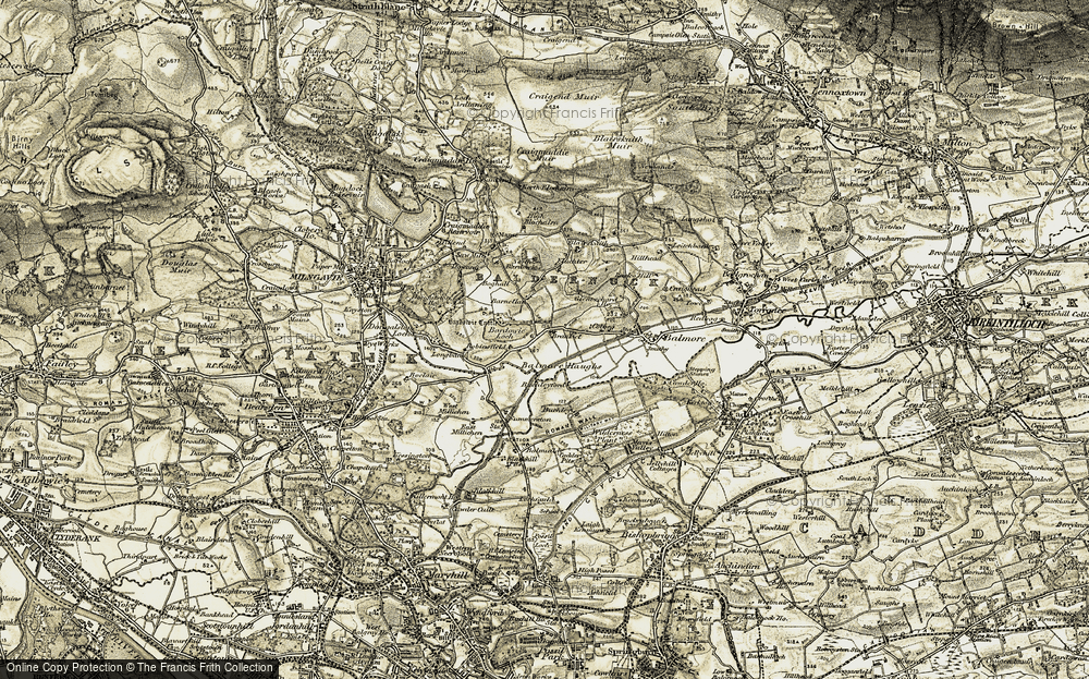 Old Map of Historic Map covering Bardowie Loch in 1904-1905