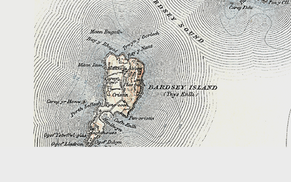 Old map of Bardsey Island in 1903