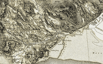 Old map of White Hill in 1904-1905