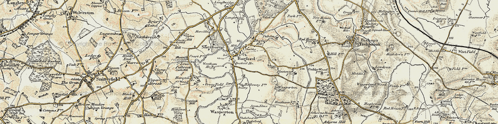 Old map of Barford in 1899-1902