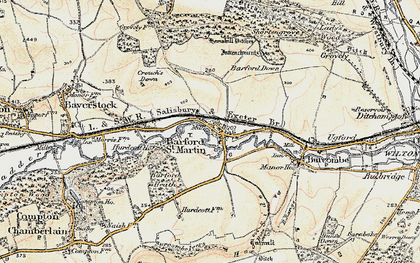 Old map of Barford Down in 1897-1899