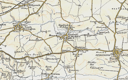 Old map of Barford St Michael in 1898-1899