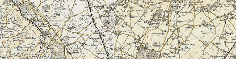 Old map of Barfrestone in 1898-1899