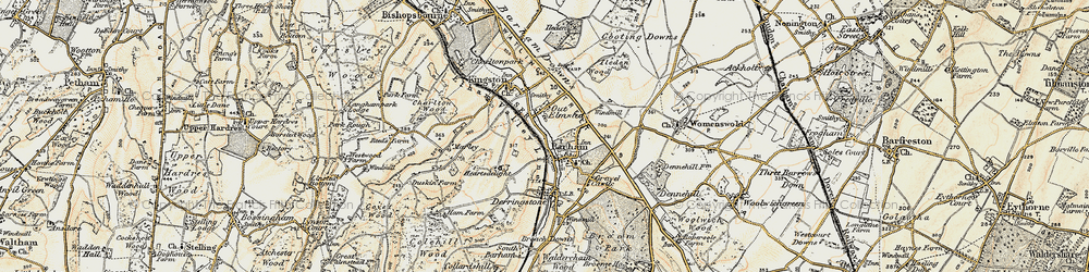 Old map of Barham in 1898-1899