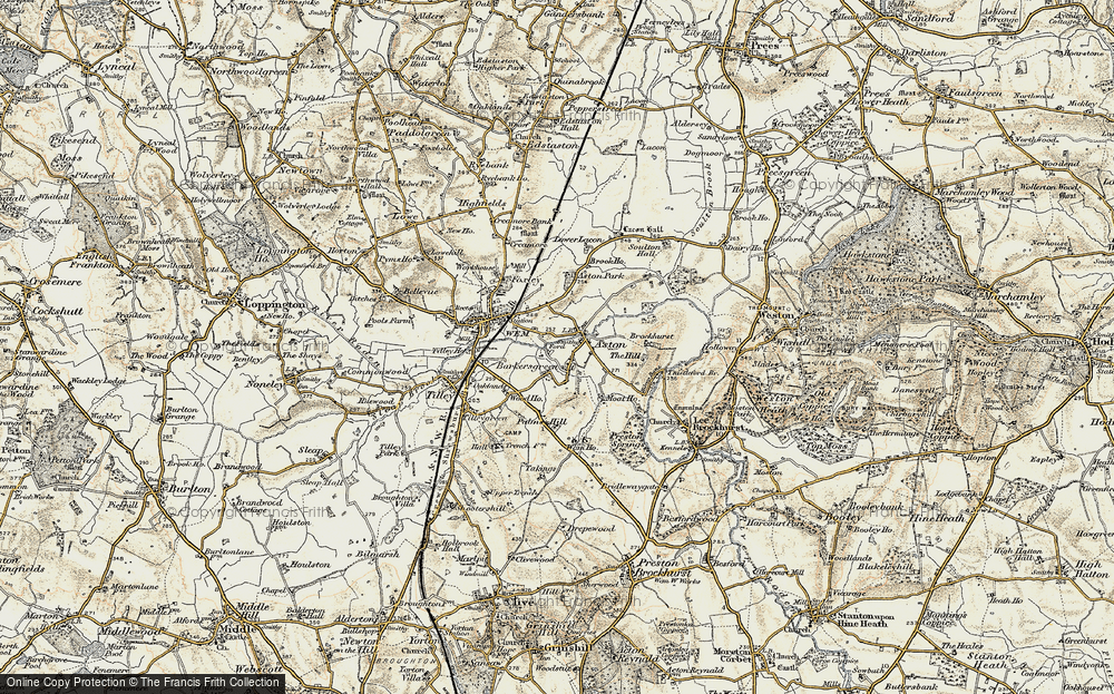 Old Map of Historic Map covering Aston Grange in 1902