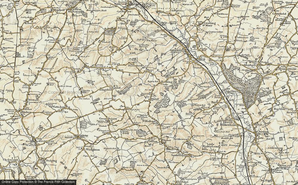 Old Map of Barking Tye, 1899-1901 in 1899-1901