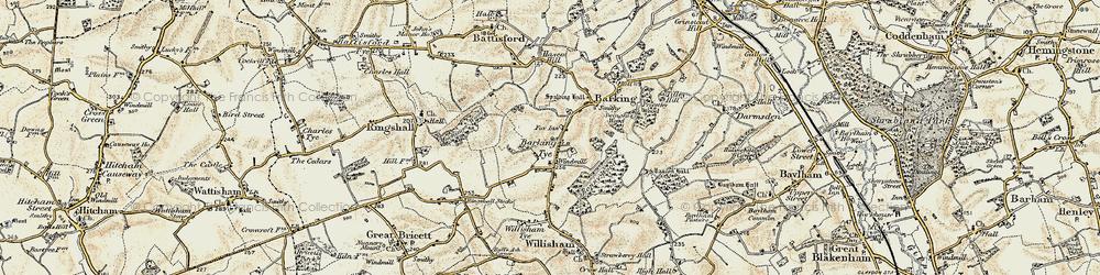 Old map of Barking Tye in 1899-1901