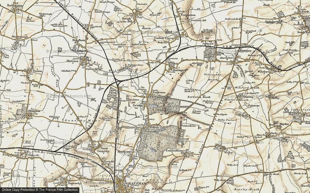 Old Map of Historic Map covering Barkston Heath in 1902-1903