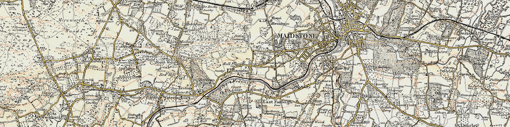 Old map of Barming in 1897-1898