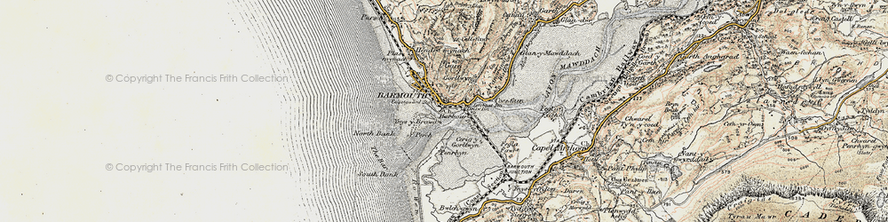 Old map of Barmouth in 1902-1903