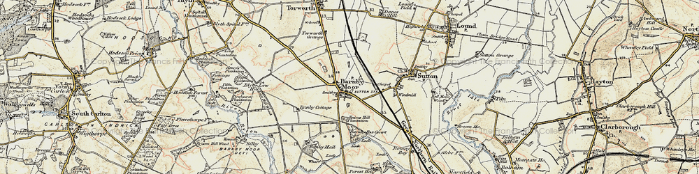 Old map of Barnby Moor in 1902-1903