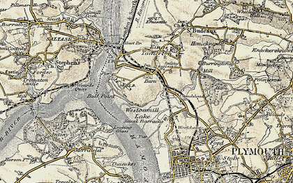 Old map of Barne Barton in 1899-1900