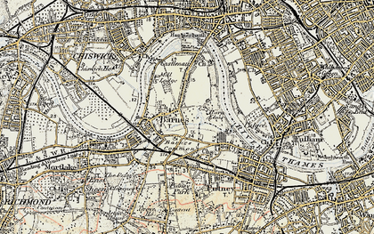 Old map of Barnes in 1897-1909