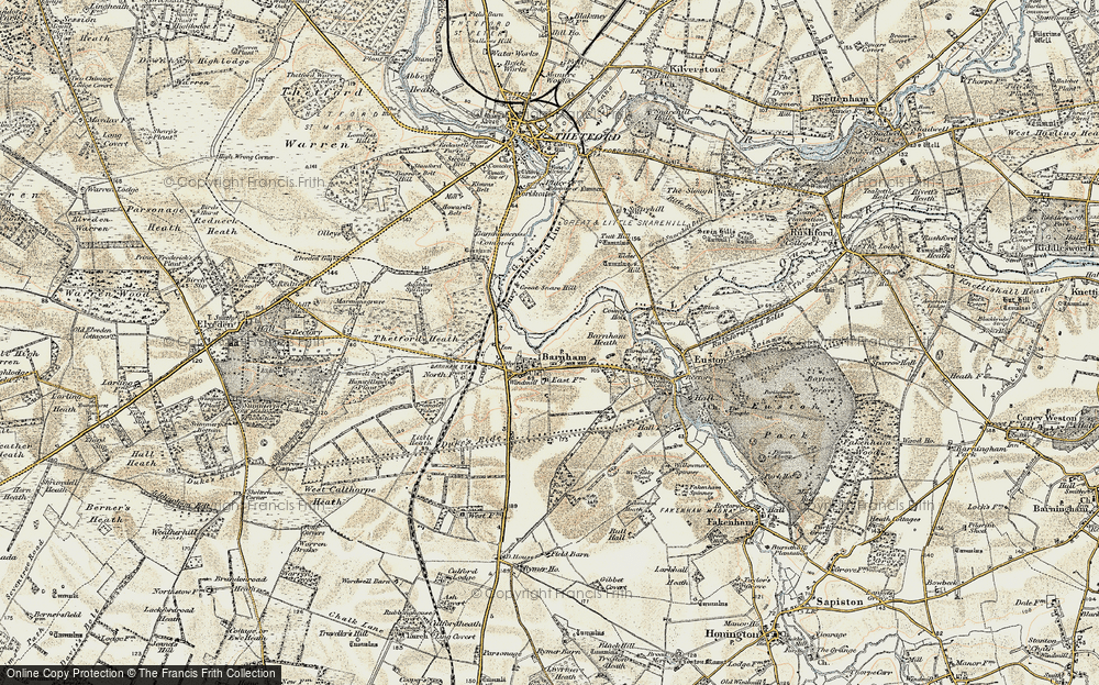 Old Map of Historic Map covering Aughton Spinney in 1901