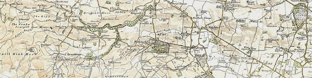 Old map of Barningham in 1903-1904