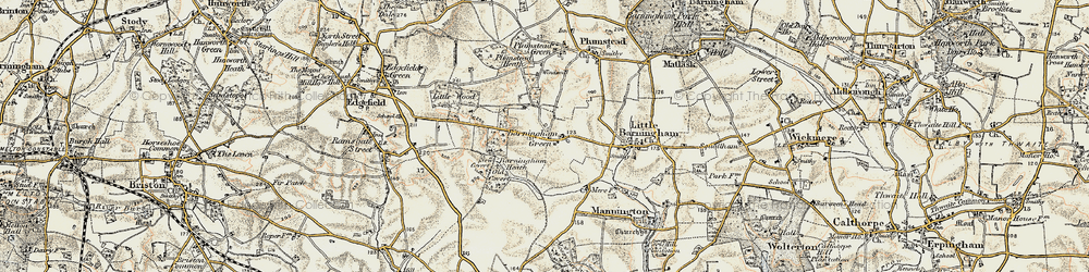 Old map of Barningham Green in 1901-1902