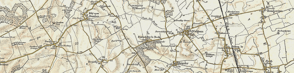 Old map of Barnoldby le Beck in 1903-1908