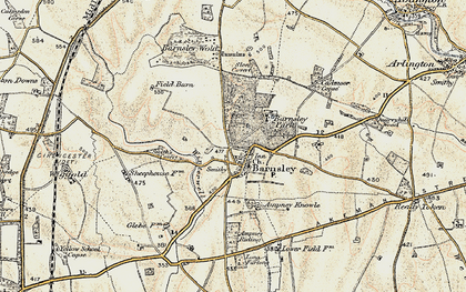 Old map of Barnsley in 1898-1899