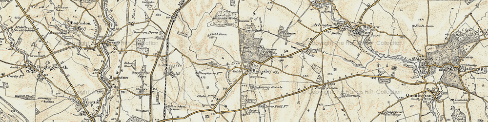 Old map of Ampney Sheephouse in 1898-1899