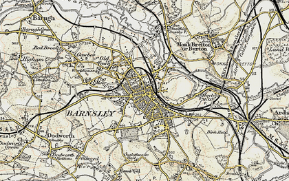 Old map of Barnsley in 1903