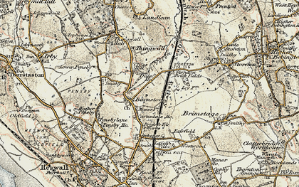 Old map of Barnston in 1902-1903
