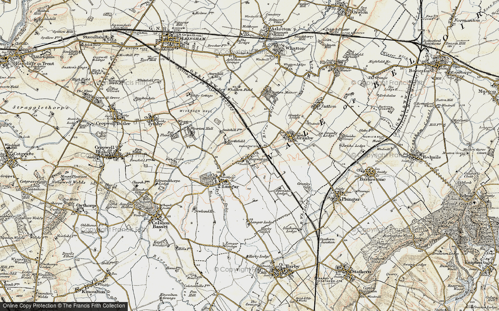 Old Map of Historic Map covering Whatton Fields in 1902-1903