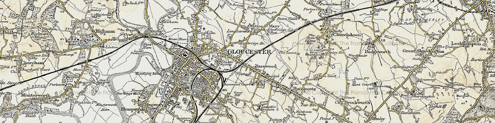 Old map of Barnwood in 1898-1900