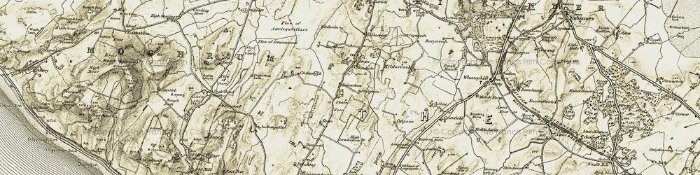 Old map of Airriequhillart in 1905