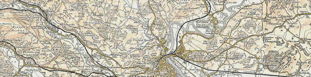 Old map of Barrack Hill in 1899-1900