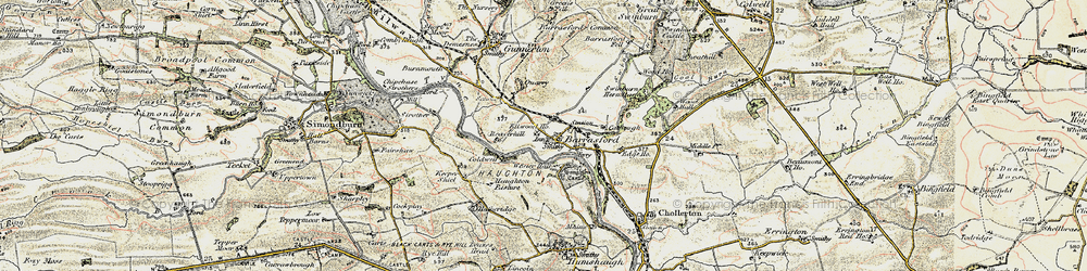 Old map of Barrasford in 1901-1903