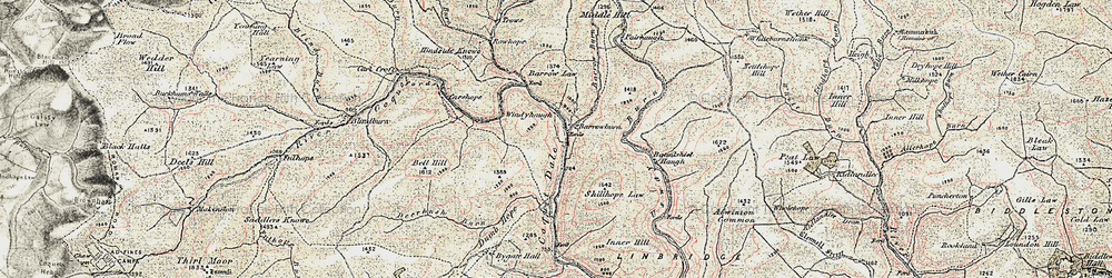 Old map of Windyhaugh in 1901-1904