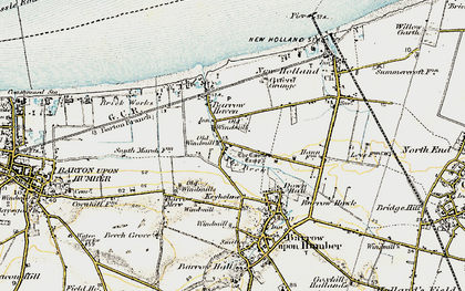 Old map of Barrow Haven in 1903-1908