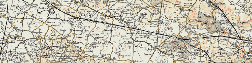 Old map of Westenhanger in 1898