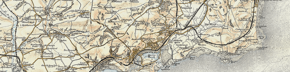 Old map of Barry Dock in 1899-1900