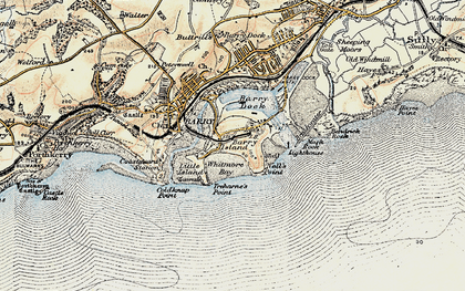 Old map of Barry Island in 1899-1900