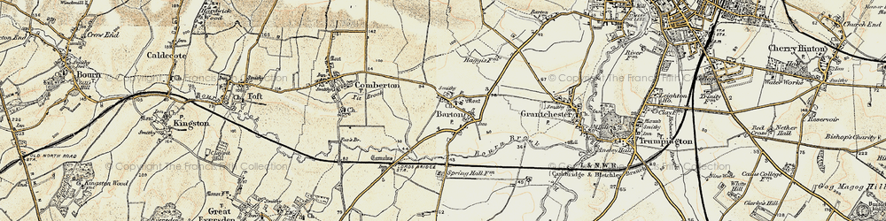 Old map of Tit Brook in 1899-1901