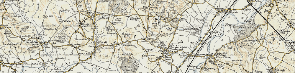 Old map of Barton Gate in 1902