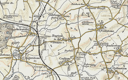 Old map of Barton in the Beans in 1902-1903